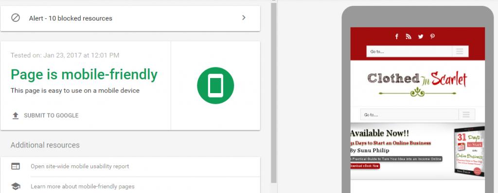 Google Mobile Friendly Test Sample