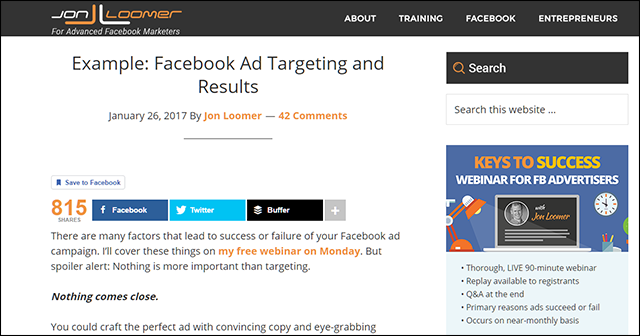 Example: Facebook Ad Targeting and Results