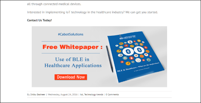 Use of BLE in Healthcare Applications CTA