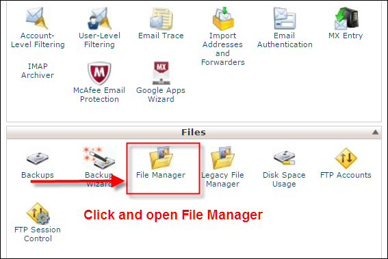 Click and Open File Manager