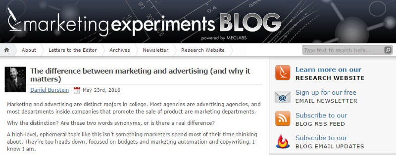 Marketing Experiments