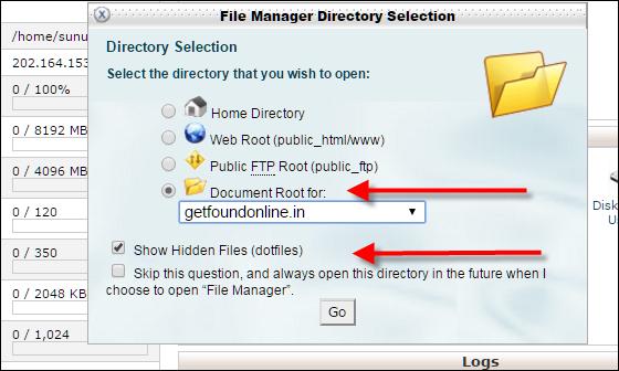 Select domain name and check Show Hidden Files