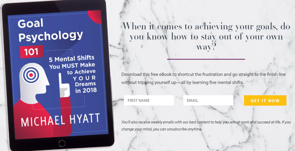 Michael Hyatt's Sign Up Incentive