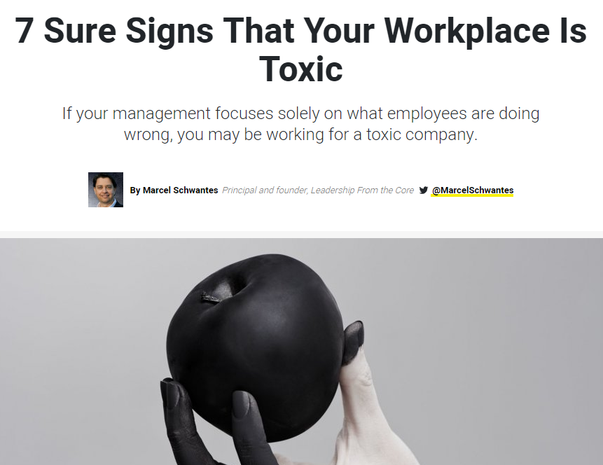 7 Sure Signs That Your Workplace Is Toxic